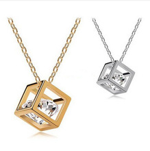 New Arrival Fashion Romantic Austrian Crystal Cube Pendant Necklace Silver Gold Plated Wholesale E-shine Jewelry TD0068