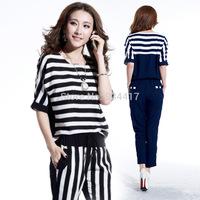 2014 new summer women's set ladies fashion stripe leisure suit casual 2 piece set women Jacket and pants suit party clothes