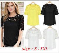 Roupas Blusas Femininas Blouse 2014 New Arrival Large Size 5XL Hollow Flower Duolei Si Chiffon Short sleeve Shirt  Black & White