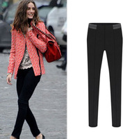 2014 European Style New Casual Women Trousers Balck Plus Size Elastic Cotton Pencil Pants Spliced Leather On Waist S-XXL 3093#