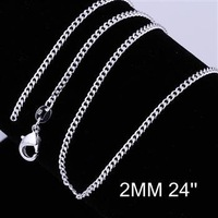 Cool 1pcs 2mm 24 inch 925 Sterling Silver Sideways to chain Lobster Clasp Necklace Free Shipping CC015