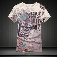 GSYF0007 man summer t shirts new arrival slim fit  perfect animal print sleeve t-shirt,Zebra image cloth