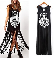 Newest European & American Women Long Dress Fashion Printed Tassel Vest Dresses Street Style Sleeveless Dress Vestidos