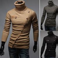 Hot Selling! Free Shipping 2014 New Unique Men Casual Slim polo shirt, long-sleeve oblique placket muiti buttons polo men