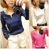 2014 New Promotions Hot Trendy Cozy Women Shirt Wild Slim Fashion Blouse Elegant Cute Long sleeve Lace Patchwork