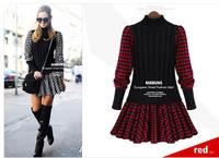 2014 Autumn Winter New Fashion Celebrity Style Women Dress Long Sleeve Pleated Short Knitting Plaid Vestidos Casual Party Dress