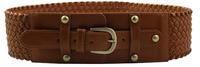 Woman Solid Elastic Cummerbund Elegant Wide belt for female Adjustable Rivet Bronze buckle Brown Brand new N242 Hot sales