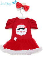New 2014 Christmas clothing set,baby girl costume,short sleeve dress with lace Peplum ,the red,Free shipping