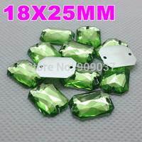 18x25MM 200PCS/LOT Peridot Green Color Superior Acrylic Sew On 2 Holes Rectangular Octagonal Shape Flat Back Stone