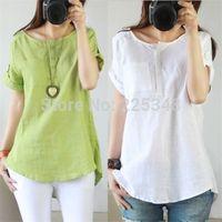 New pop Casual Women's Linen Cotton Short Sleeve Shirt Blouse Tops