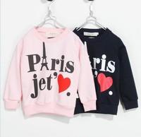 Autumn Children's Clothing Sweatshirts T Shirt Letter Iron Tower Cotton Boy Girl T Shirts Long Sleeve Kids Sweatshirts  GX925