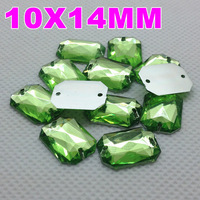 10x14MM 1000PCS/LOT Peridot Green Color Superior Acrylic Sew On 2 Holes Rectangular Octagonal Shape Flat Back Stone