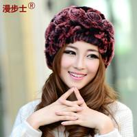 Walk new  lady 's wearing hats  Lovely rabbit hair hat  children warm winter cap