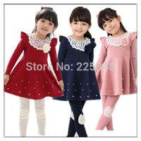 Free Shipping New Kids Toddlers Girls Lovely Princess Long Sleeve Cotton Stripe Flower Mini Dress