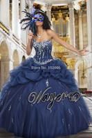 2014 Gorgeous Navy Ball Gown Corset Quinceanera Dresses Crystal Beaded Prom Dresses vestidos de 15 anos vestidos de quinceanera