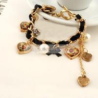 Women Bow Pearl Heart Golden Chain Rope Inlay Rhinestone Bracelet Bangle Gift Free shipping & Drop shipping