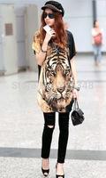 2014 New Womens Sexy Tiger Printed Loose Long T-shirt Club Dress Black Tops