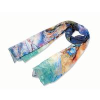 2pcs Elegant hijab cachecol print character blue scarf women autumn 100% mulberry long silk pashmina scarves brand 172*55cm