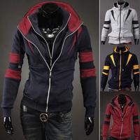 Wholesale 2014 New Hot Sale Fashion men Casual Slim with a hood sweatshirt, double zipper design splicing hoodies men