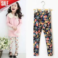 New Arrival 2014 autumn baby girls fashion floral printed leggings kids cotton skinny pants chidlren all match leggings