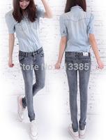Free shipping Fashion women smoke gray pencil pants jeans thin slim denim jeans women trousers 26~31