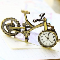 Free shippingNecklaces watch 2014 vintage bronze pendant bicycle-shaped for children students hot sale free shipping