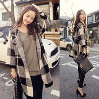 Autumn british style women's large plaid loose medium-long cardigan outerwear