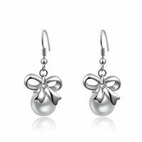Christmas Delicate Platinum bow Pearl  Earrings,Gift girlfriend beautiful,Pure handmade fashionable,ROXE192