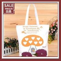 MeetU autumn canvas bag tote bag shoulder bag hot-selling small hedgehogs 3 pattern fashion bag eco-friendly sail,student bag