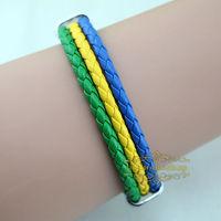 Free shipping High qulity Gabon national flag leather bracelet,Casual Sport bracelet&bangle