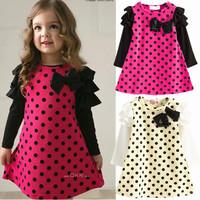 2014 New Girls Dress Spring Autumn Children's clothing cute Dot long sleeve 2 colors Dot dresses 1pcs sale free shipping