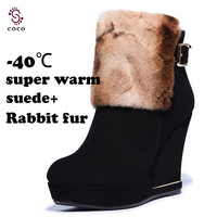 Luxury keep warm Suede+Rabbit fur women boots Snow boots Fashion Design women leather boots winter boots Value for money