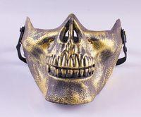 100pcs/lot 2014 Promotion Men's Skull Skeleton Airsoft Game Hunting Biker Ski Half Face Gear Mask Guard 3 Colors