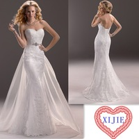 Free Shipping Sweetheart Backless 2014 Affordable Wedding Dress With Skirt Train  ---- AA176