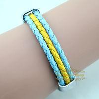 Free shipping High qulity sweeden national flag leather bracelet,Casual Sport bracelet&bangle