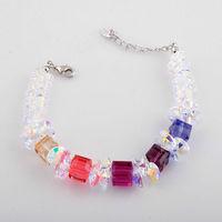 strand bracelet genuine Austrian crystals MULTICOLORS 925 SILVER TONE BB-301 Rihood Tra'ding