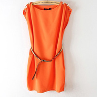 Hot Sale 2014 Women Dress Tank Crew Neck Sleeveless Dress Button-Shoulder Tunic Solid Color Dress with Belt 3 Colors Size M L XL