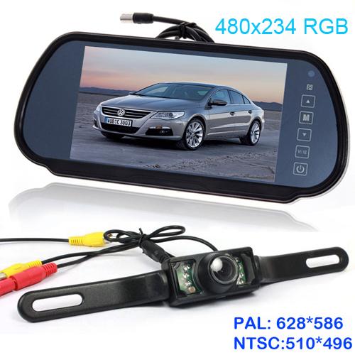 """HD 7"""" LCD Screen Car Rear View Backup Parking Mirror Monitor parking sensor DVD/VCD/GPS/TV + 6LED rear view Camera Night Vision(China (Mainland))"""
