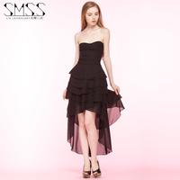 SMSS  women's wrapped chest asymmetric long chiffon cake party dress
