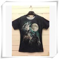 2015 New Fashion 3D Men T-Shirts Men T-Shirts Wolf Eat Moon Print Round Collar Short-Sleeved  Loose Cotton Casual Men Tops