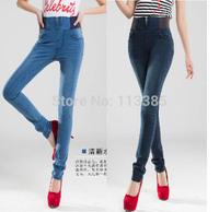 Free shipping Fashion women skinny Elastic stretch waist pencil pants jeans slim Spliced denim jeans women full trousers 26~32