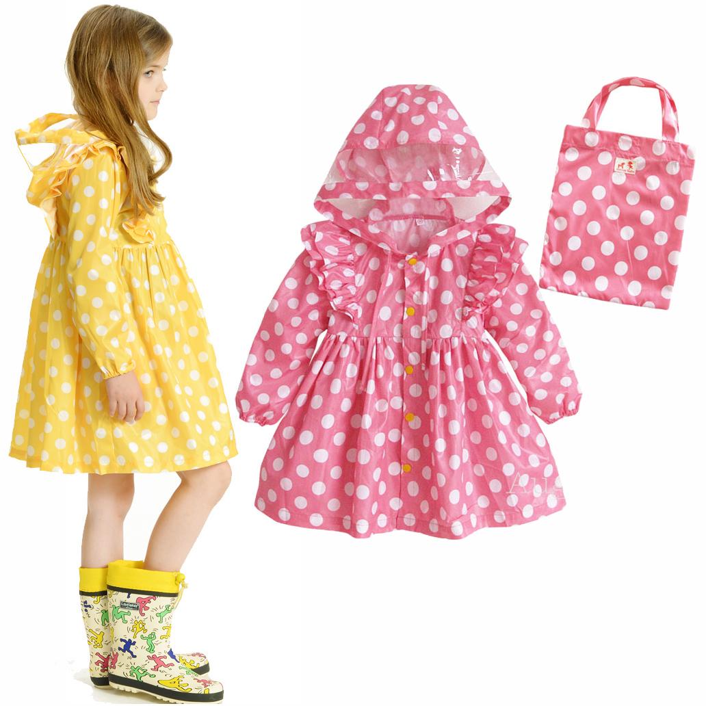 2014 High Quality Dots Polka princess dress Child /Kids Raincoat for girls Yellow Pink Rain wear Ponchos Waterproof chubasquero(China (Mainland))