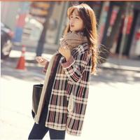 Hot! 2014 winter fashion new Korean version women Long sections knit plaid loose cardigan sweater ks010