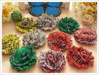 100pcs baby girls shabby flowers children's hair accessories check pattren hair flower chiffon foldover flower