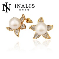 E825 Wholesale! Nickle Free Antiallergic 18K Real Gold Plated Earrings For Women New Fashion Jewelry Free Shipping