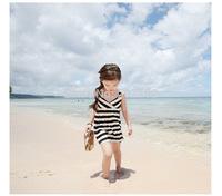 Girls bohemian beach dress girls striped princess dress children's clothing full dresses kids baby red navy blue 2014 New Q09283