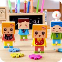 12pcs/lot Creative Stationery Cute Cartoon DIY Assemble Kids Pencil Sharpener With Eraser For School Student 7*3.5cm Wholesale