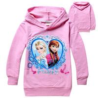 2014 New Frozen Girls tee shirt 3style hoodies desing 2-8yrs Kids autumn long sleeve Tee shirt free shipping 704