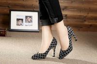 brands Lattice  Women High Heel Pumps genuine leather