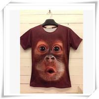 2014 New Fashion 3D Men T-Shirts Men T-Shirts Cute Monkey  Print Round Collar Short-Sleeved  Loose Cotton Casual Men Tops